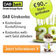 90 Euro geschenkt als Bargeldprämie bei DAB bank