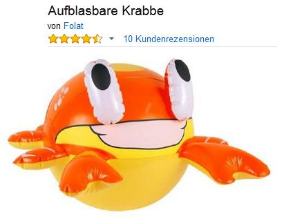 große aufblasbare Krabbe + Badespaß für Kinder