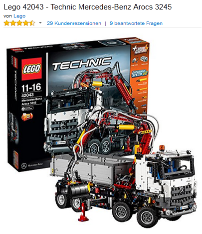Weihnachtsgeschenkidee LEGO Technic Arcos 3245
