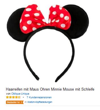Haarreif mit Mausohren wie Minnie Mouse mit Schleife