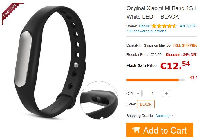 Aktivitätstracker Xiaomi Mi Band 1S billig & versandkostenfrei bestellen