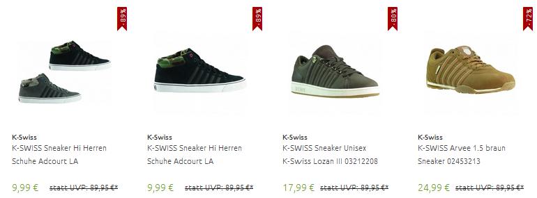 K-Swiss Schuhe ab 9,99 Euro bei Outlet46