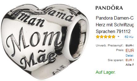 Pandora Herz mit Schriftzug: Mama, Mom = Muttertagsgeschenkidee