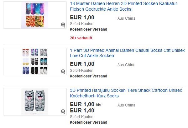3D Socken lustig, süß billig als ebay-Gadget