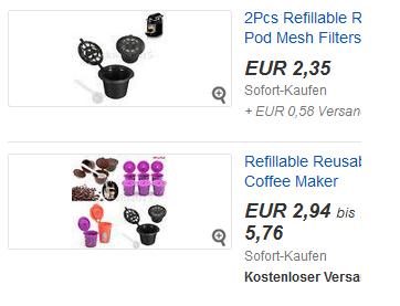 Kapseln für Nespresso, auffüllbar mit Kaffee, wiederbenutzbares Gadget bei ebay