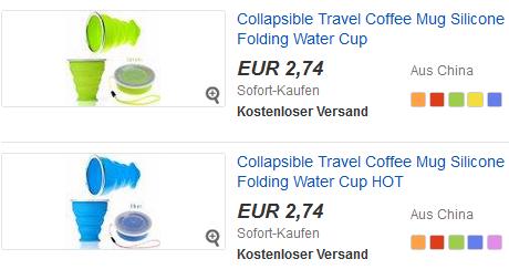 faltbarer Becher aus Silikon für Kaffee billig bei ebay