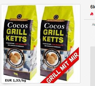Cocos Grill Ketts: 6 kg Grillkohle aus Kokosnuss nur 7,99 Euro