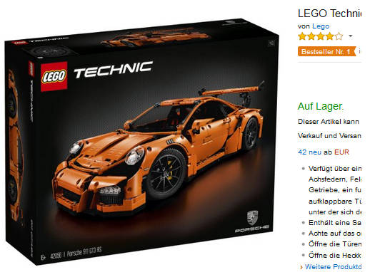lego technic porsche 911 gt3 rs nur 239 20 euro. Black Bedroom Furniture Sets. Home Design Ideas