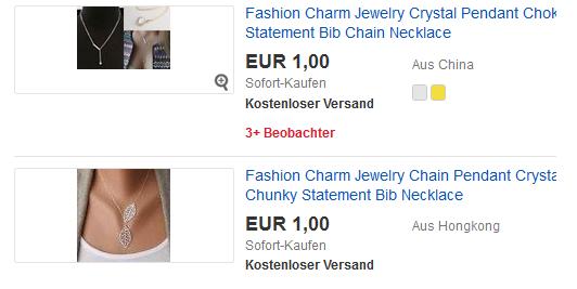 Modeschmuck ab 1 euro