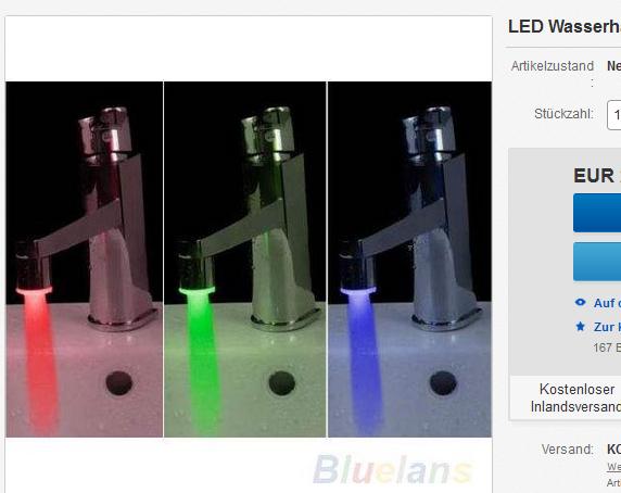 Wasserhahn, Armatur mit Licht & Farben billig als Gadget