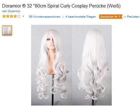 Perrücke für Halloween & Cosplay: lange, Curly-Haare nur 14 Euro