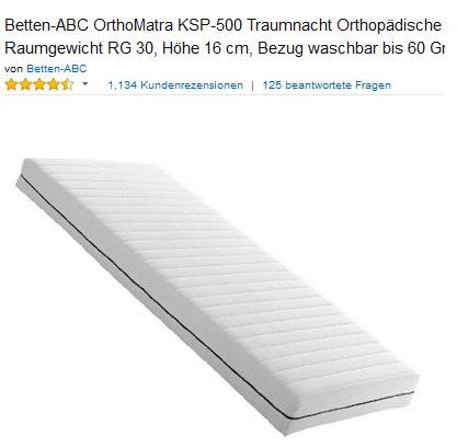 Kaltschaummatratze OrthoMatra KSP-500 von Betten-ABC, billig & kostenlose Lieferung