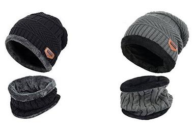 Vbiger Wintermütze und Schal mit Fleecefutter günstig, versandkostenfrei