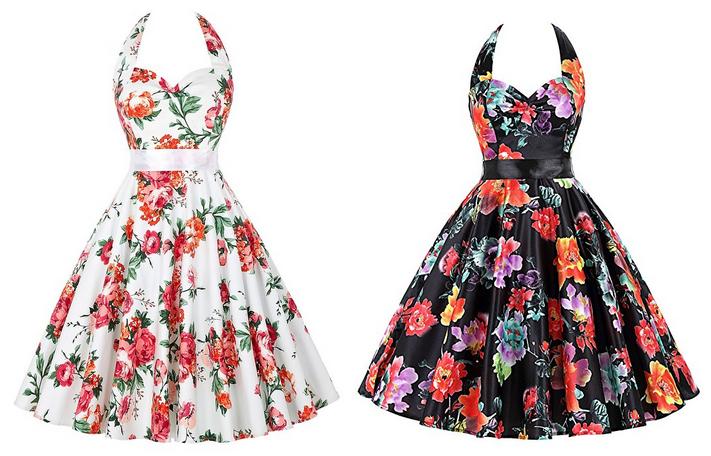 Cocktailkleider, Sommerkleid, Frühlingskleid mit Blumen