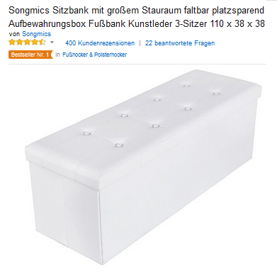 sitzbank mit staufach von songmics billige 39 99 euro mit versand. Black Bedroom Furniture Sets. Home Design Ideas
