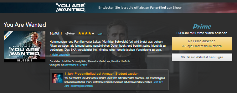 You are wanted: kostenlos & legal schauen