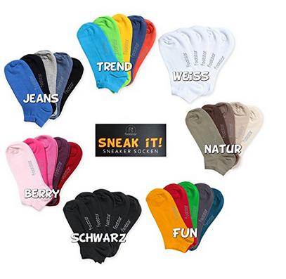Zehnerpack Sneakersocken von footstar - bunt und einfarbig