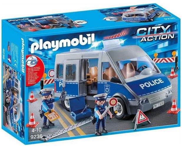 playmobil City Action Polizeibus und Strassensperre