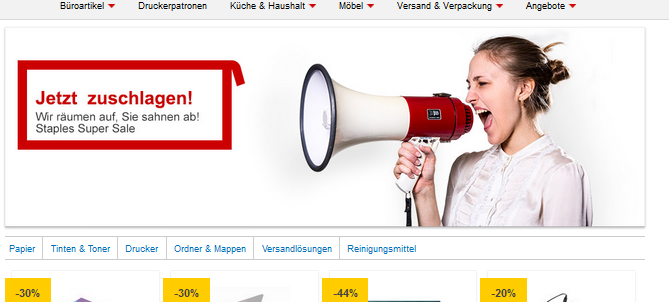 Super Sale im Staples Onlineshop, Screenshot staples.de