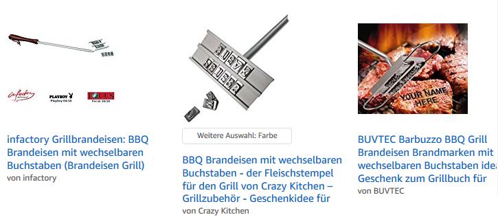 Grillbrandeisen mit Buchstaben bei amazon.de