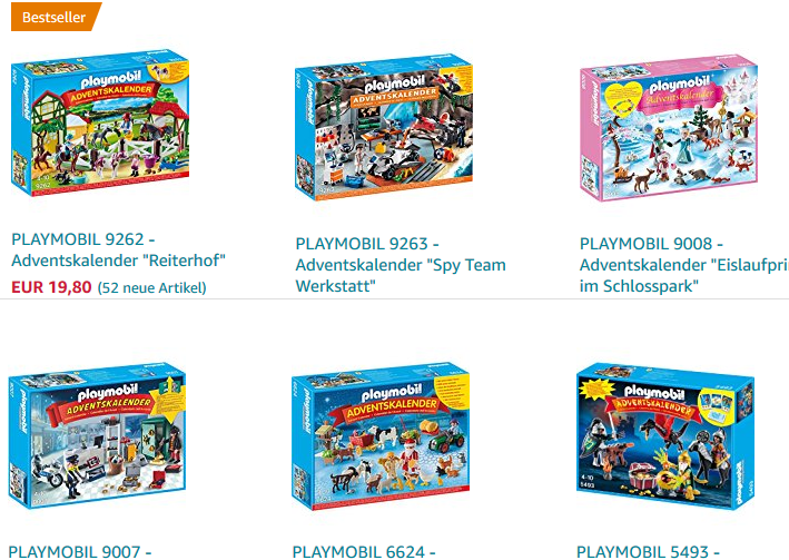 playmobil Adventskalender - nach Preis geordnet bei Amazon!
