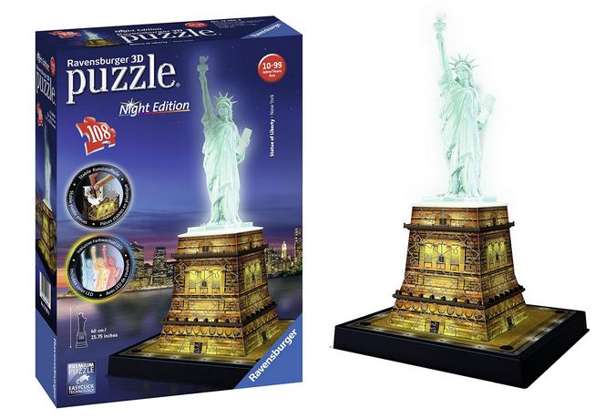 Ravensburger 12596 3D-Puzzle amerikanische Freiheitsstatue bei Nacht