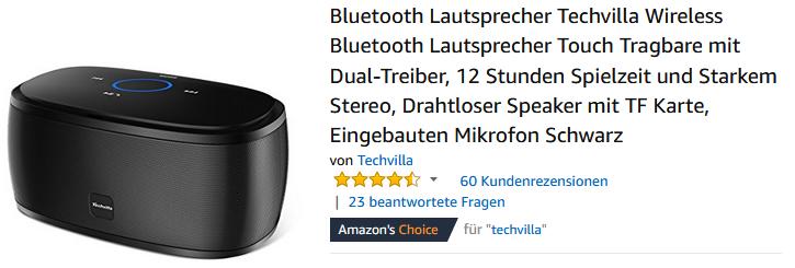 Bluetooth-Lautsprecher von Techvilla