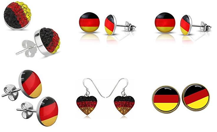 Deutschland Ohrringe - Schwarz-Rot-Gold-Ohrstecker