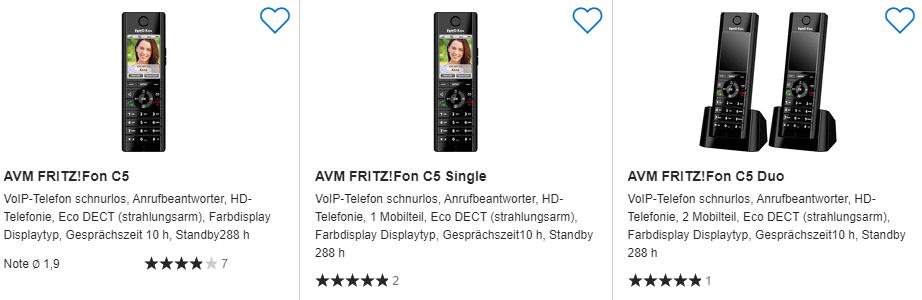 Preisvergleich zu AVM FRITZ!Fon C5 DECT Telefon