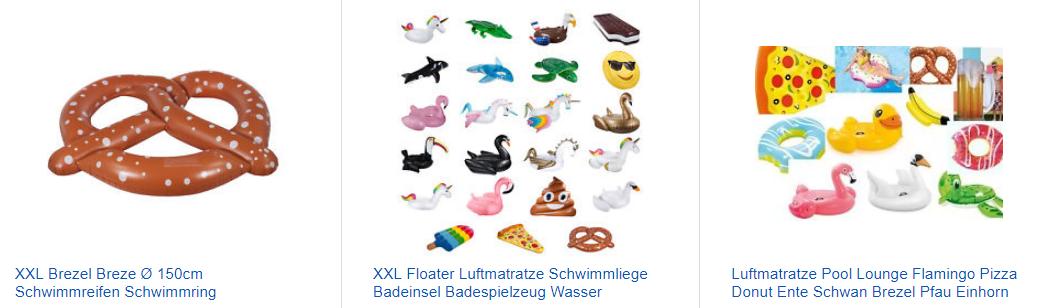 verrückte Luftmatratzen - XXL-Spaß mit Brezel & Konsorten