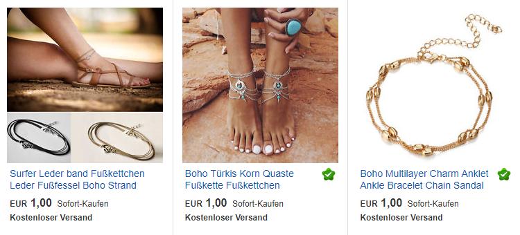 Boho-Fußkettchen billig + versandkostenfrei, ebay.de Screenshot