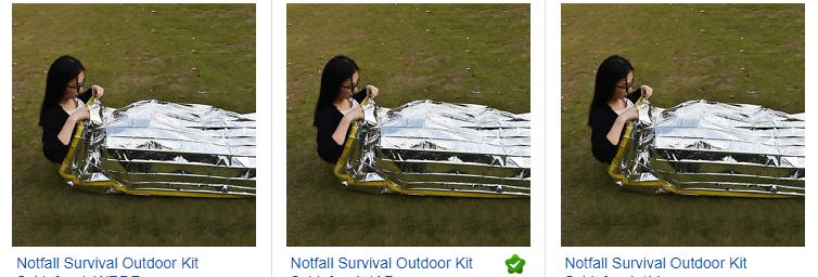 ebay.de Screenshot + Notfall Survival Schlafsack