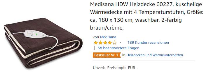 Medisana HDW Heizdecke 60227