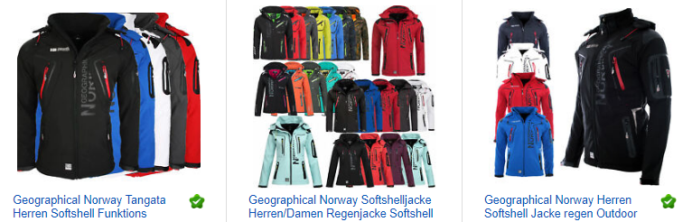 ebay.de Screenshot - Geographical Norway Herren Softshell Jacke