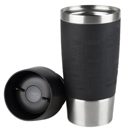 Emsa Isolierbecher Mobil genießen 360 ml Quick Press Verschluss Travel Mug, Coffee -Manschette Schwarz, Amazon.de Screenshot