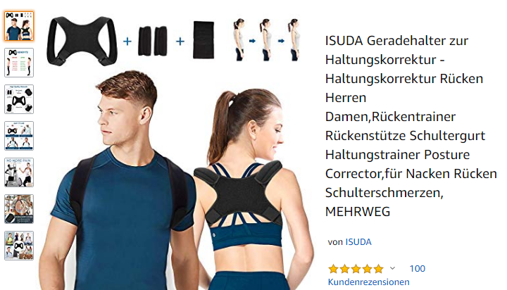 ISUDA Geradehalter zur Haltungskorrektur, Amazon.de Screenshot