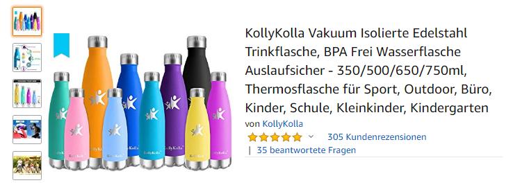 KollyKolla Vakuum Isolierte Edelstahl Trinkflasche, Amazon.de Screenshot