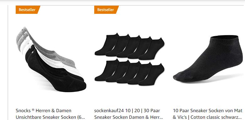 amazon.de-Screenshot - Sneaker Socken Damen