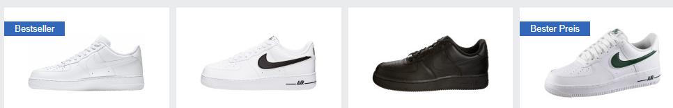 idealo.de Screenshot zu Nike Air Force 1 '07