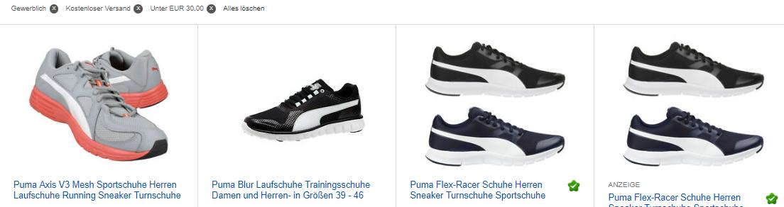 ebay.de-Screenshot zu PUMA Herren Laufschuhe